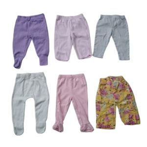 Lot of 6 Baby Girl's Pants, Mixed Brands, 6-9m